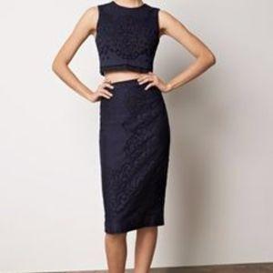 A.L.C. Two Piece Crochet Set Sz 2 Top Skirt Dress